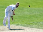 England's Ben Stokes bowls during play on the second day of the opening Ashes cricket test match between England and Australia at The Swalec Stadium...