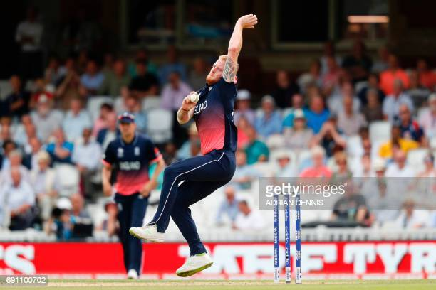 England's Ben Stokes bowls during the ICC Champions trophy cricket match between England and Bangladesh at The Oval in London on June 1 2017 / AFP...
