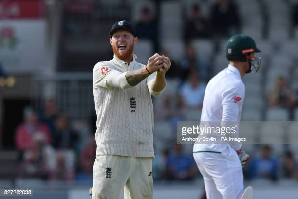 England's Ben Stokes celebrates taking the catch of South Africa's Theunis de Bruyn for 0 during day four of the Fourth Investec Test at Emirates Old...