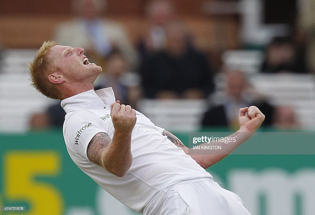 Englands Ben Stokes celebrates taking the wicket of New Zealands Mark Craig during play on the fifth day of the first cricket Test match between...