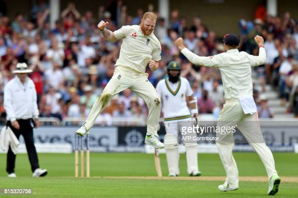 England's Ben Stokes celebrates taking the wicket of South Africa's Dean Elgar for 80 runs on the third day of the second Test match between England...