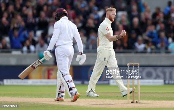 England's Ben Stokes celebrates taking the wicket of West Indies Shai Hope during day three of the First Investec Test match at Edgbaston Birmingham