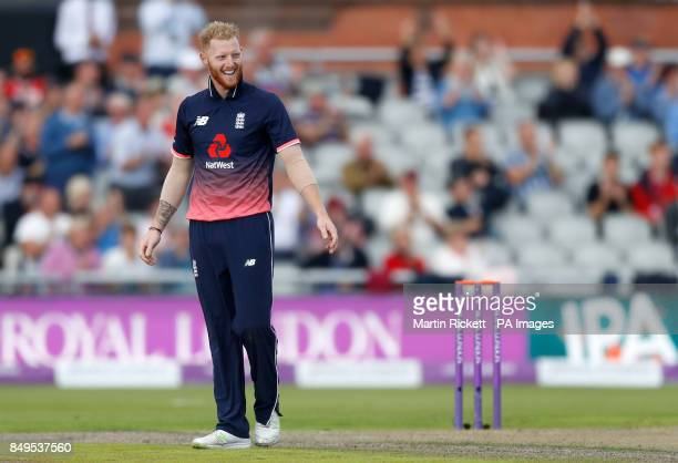 England's Ben Stokes celebrates taking the wicket of West Indies' Shai Hope during the first Royal London One Day International match at the Emirates...