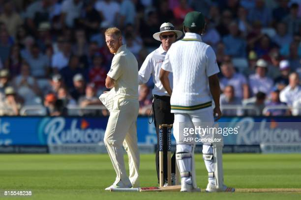 England's Ben Stokes exchanges words with South Africa's Vernon Philander on the third day of the second Test match between England and South Africa...