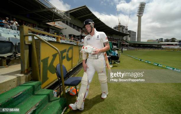England's Ben Stokes leaves the field after being dismissed for 120 runs during during the 3rd Ashes cricket Test match between Australia and England...