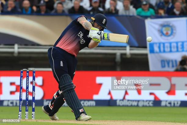 England's Ben Stokes plays a shot during the ICC Champions Trophy match between England and Australia at Edgbaston in Birmingham central England on...
