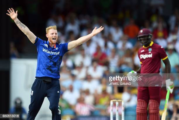 England's Ben Stokes successfully appeals for LBW against West Indies cricketer Carlos Brathwaite during the final of the threematch One Day...