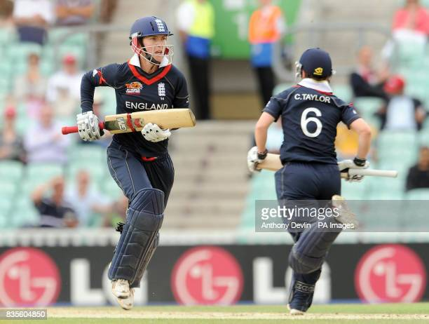England's Beth Morgan and Claire Taylor put runs on the board during the ICC Women's World Twenty20 Semi Final at The Oval London