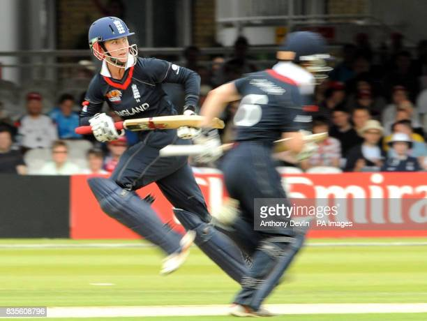 England's Beth Morgan and Claire Taylor put runs on the board during the Final of the Women's ICC World Twenty20 at Lords London