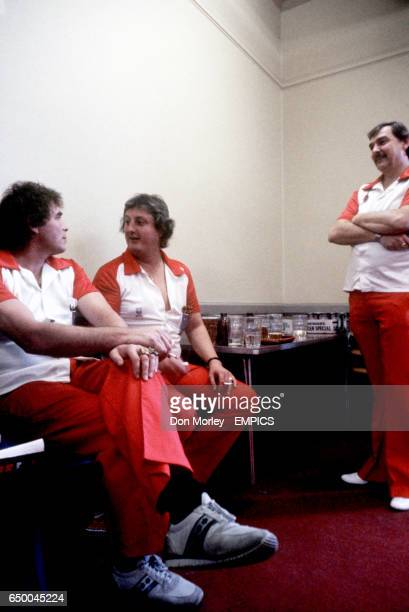 England's Bobby George Eric Bristow and Alan Glazier in the changing rooms