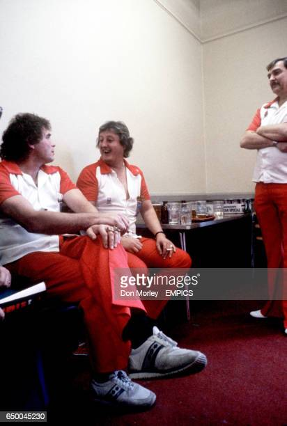 England's Bobby George Eric Bristow and Alan Glazier in the dressing room