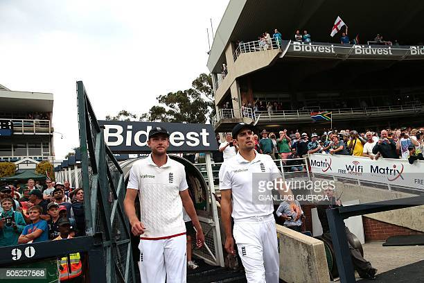 England's bowler Stuart Broad and England's Captain Alastair Cook arrives for the post match presentation after winning the third Test match between...