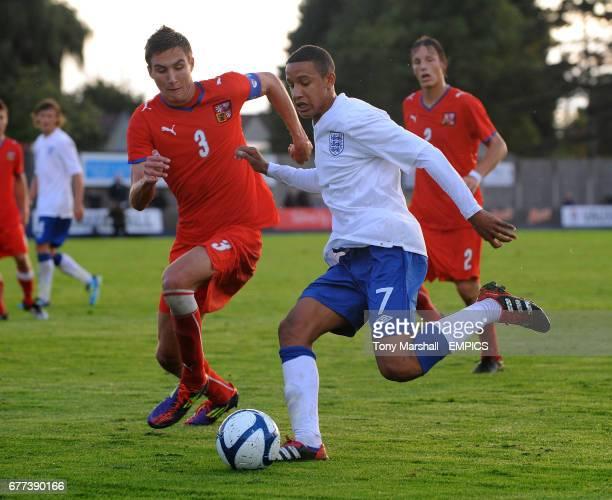 England's Callum Robinson and Czech Republic's Stefan Simic battle for the ball