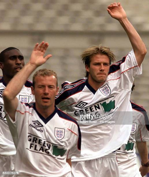 England's captain Alan Shearer with teammates David Beckham and Sol Campbell in training this evening at the Toulouse stadium where the squad will...