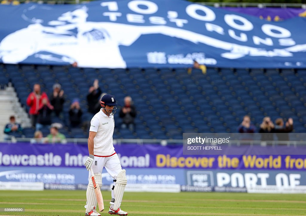 England's captain Alastair Cook is pictured after scoring 10,000 test match runs during play on the fourth day of the second test cricket match between England and Sri Lanka at the Riverside in Chester-le-Street, north east England, on May 30, 2016. / AFP / SCOTT
