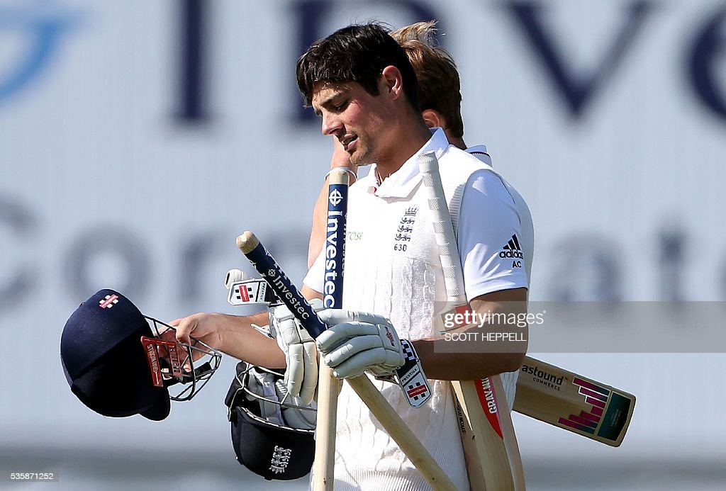 England's captain Alastair Cook leaves the field after England won the 2nd Test match on the fourth day of the second test cricket match between England and Sri Lanka at the Riverside in Chester-le-Street, north east England, on May 30, 2016. / AFP / SCOTT