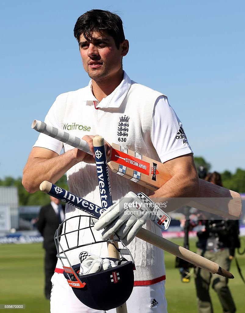 England's captain Alastair Cook leaves the field after his team won the 2nd Test on the fourth day of the second test cricket match between England and Sri Lanka at the Riverside in Chester-le-Street, north east England, on May 30, 2016. / AFP / SCOTT