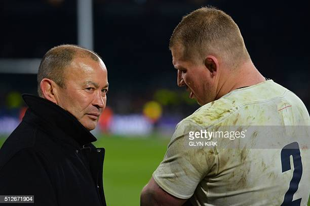 England's captain and hooker Dylan Hartley talks with England's head coach Eddie Jones at the end of the Six Nations international rugby union match...