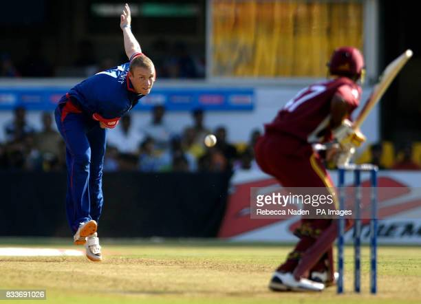 England's captain Andrew Flintoff bowls during the ICC Champions Trophy match against the West Indies at the Sardar Patel Stadium Ahmedabad India