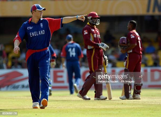 England's captain Andrew Flintoff directs the field during the ICC Champions Trophy match against the West Indies at the Sardar Patel Stadium...