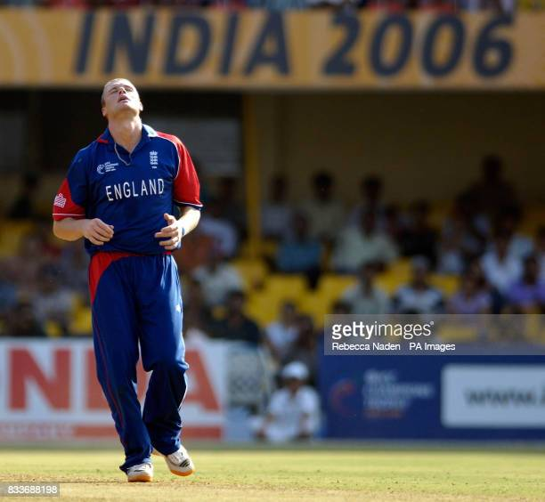 England's captain Andrew Flintoff is hit for 4 runs during the ICC Champions Trophy match against the West Indies at the Sardar Patel Stadium...