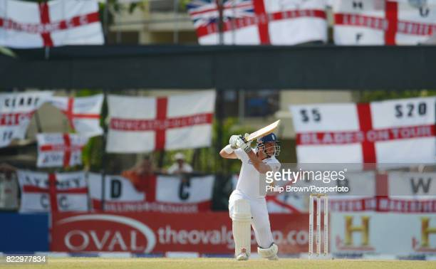 England's captain Andrew Strauss drives the ball during his innings of 61 runs in the 2nd Test match between Sri Lanka and England at Colombo Sri...