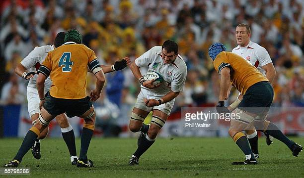 England's captain Martin Johnson breaks the Australian defence in the 2003 Rugby World Cup Final played at the Telstra StadiumSaturdayEngland won in...