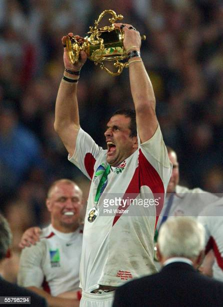 England's captain Martin Johnson holds up the William Webb Ellis Trophy following the 2003 Rugby World Cup Final played against Australia at the...