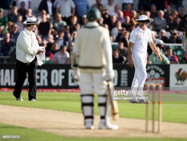 England's captain Michael Vaughan has words with umpire Billy Bowden after South Africa's Hashim Amla is recalled to the field