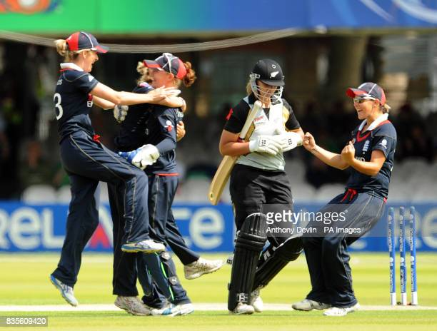 England's celebrate after Laura Marsh took the wicket of Suzie Bates during the Final of the Womens ICC World Twenty20 at Lords London