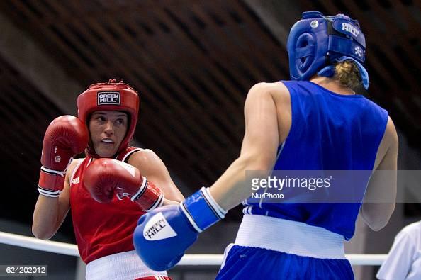 England's Chantelle Cameron during the EUBC European Womens Boxing Championships Sofia 2016 game between England's Chantelle Cameron and Denmark's...