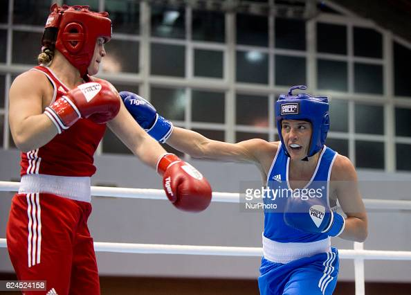 England's Chantelle Cameron during the EUBC European Womens Boxing Championships Sofia 2016 game between England's Chantelle Cameron and Russia's...
