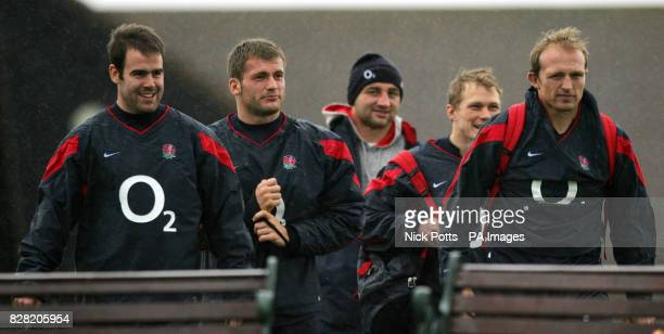 England's Charlie Hodgson with Mark Cueto Josh Lewsey Matt Dawson during a training session at Springs Hotel Leicestershire Wednesday November 2 2005...