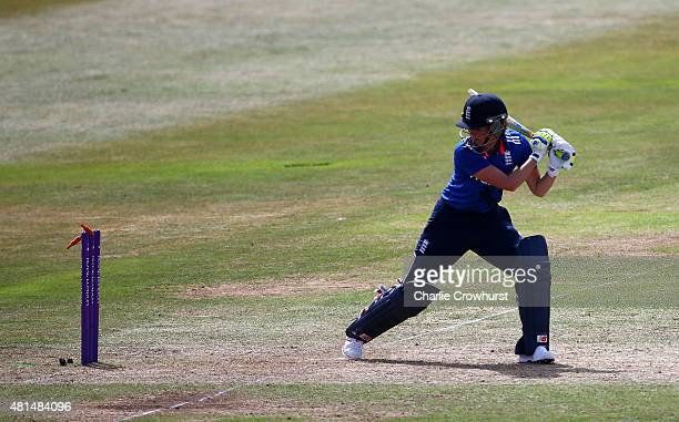 England's Charlotte Edwards is bowled out by Australia's Ellyse Perry during the 1st Royal London ODI of the Women's Ashes Series between England...