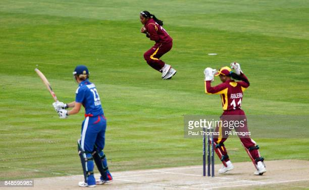 England's Charlotte Edwards is caught out by West Indies' Anisa Mohammed during the NatWest Women's International T20 match at Old Trafford Manchester