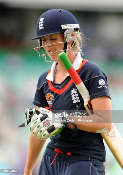 England's Charlotte Edwards leaves the field after being bowled by Australia's Ellyse Perry during the ICC Women's World Twenty20 Semi Final at The...