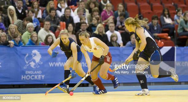 England's Chloe Rogers gets away from Scotland's Kareena Marshall during their Indoor International test at the NIA Birmingham7th December 2009