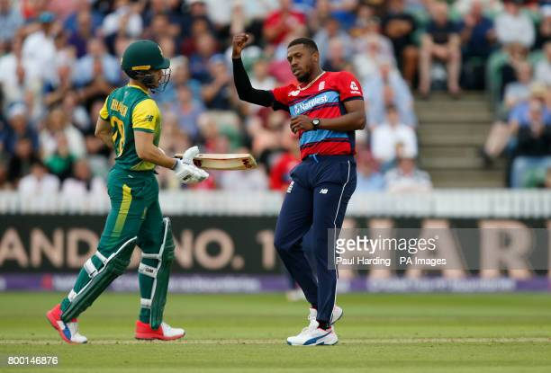 England's Chris Jordan celebrates the wicket of South Africa's Farhaan Behardien during the second NatWest T20 Blast match at the Cooper Associates...