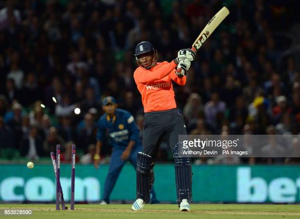England's Chris Jordan is bowled out by Sri Lanka's Lasith Malinga during the International T20 at The Kia Oval London