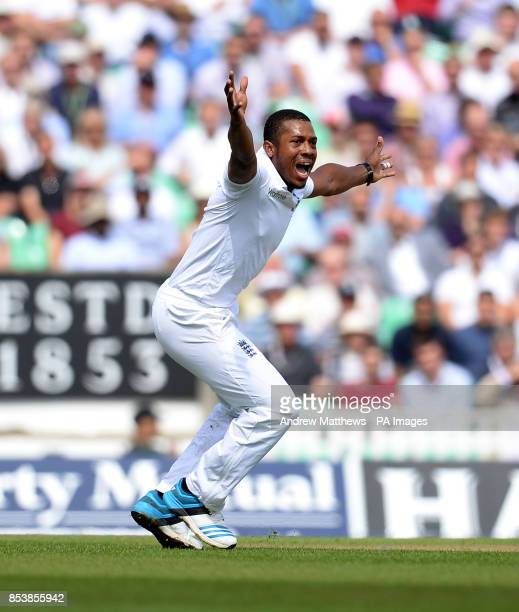 England's Chris Jordan successfully appeals for the wicket of India's Virat Kohli during the Fifth Test at The Kia Oval London