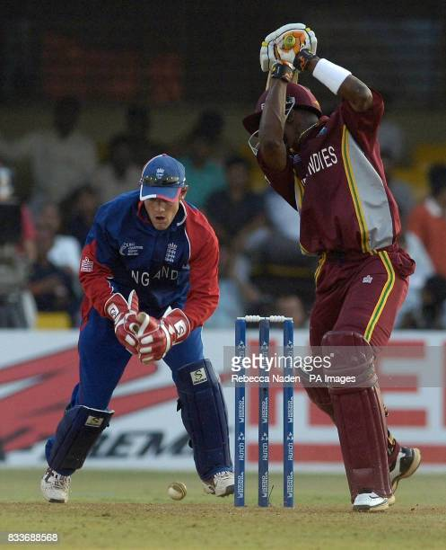 England's Chris Read misses a stumping chance during the ICC Champions Trophy match against the West Indies at the Sardar Patel Stadium Ahmedabad...