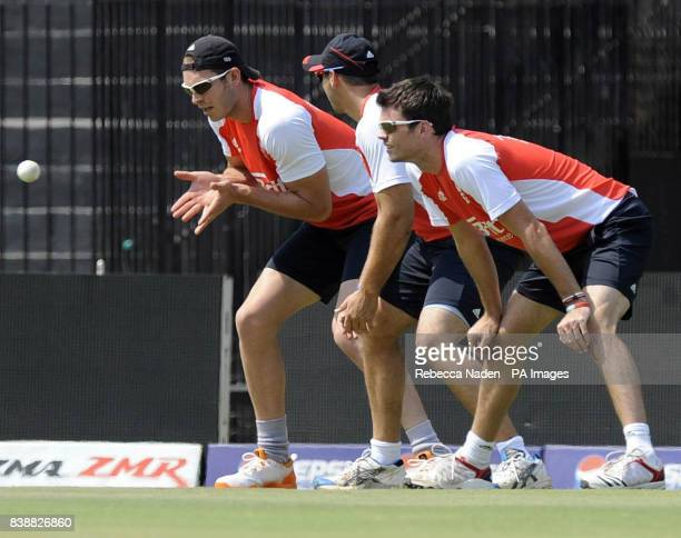 England's Chris Tremlett takes a catch during a practice session at the Chidambaram Stadium Chennai India