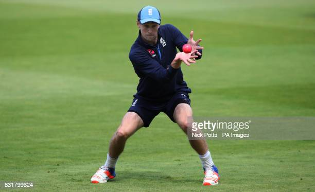 England's Chris Woakes catches the pink ball during the nets session at Edgbaston Birmingham