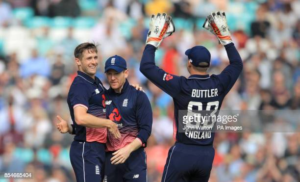 Englands Chris Woakes celebrates taking the wicket of West Indies Marion Samuels for 1 during the Fourth Royal London One Day International at the...
