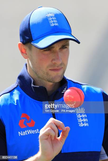 England's Chris Woakes during the nets session at Edgbaston Birmingham