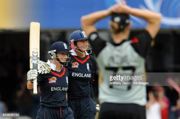 England's Claire Taylor and Jenny Gunn celebrate after beating New Zealand after hitting the winning runs in the Final of the Women's ICC World...