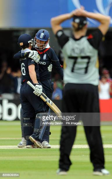 England's Claire Taylor and Jenny Gunn celebrate after beating New Zealand during the Final of the Womens ICC World Twenty20 at Lords London