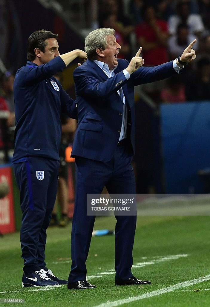 England's coach Roy Hodgson reacts during Euro 2016 round of 16 football match between England and Iceland at the Allianz Riviera stadium in Nice on June 27, 2016. / AFP / TOBIAS