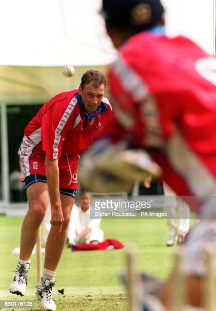 England's cricket fast bowler Angus Fraser during a training session at Lords Cricket Ground in London as England prepare for their first game in the...