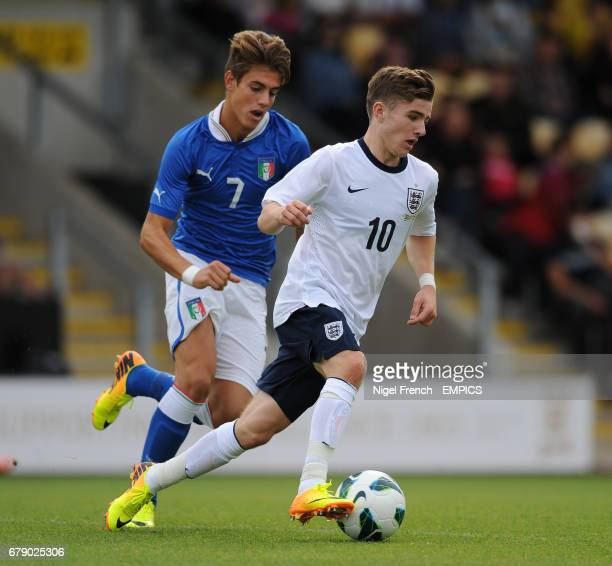 England's Daniel Crowley and Italy's Tommaso Fantacci battle for the ball